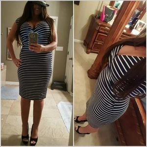 Ann Taylor stripped fitted body con dress